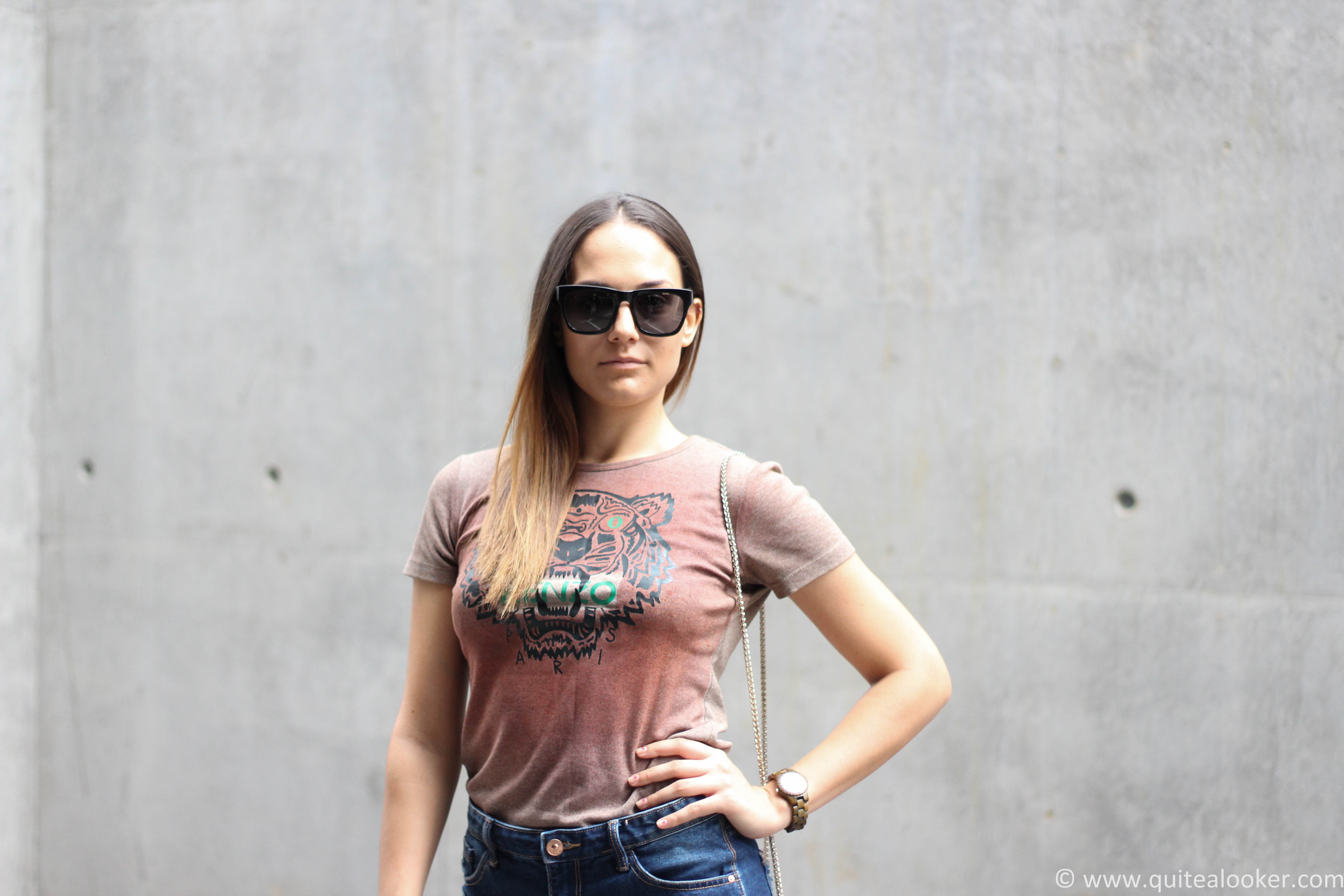 adidas stan smith zig zag sneakers summer outfit denim shorts stradivarius ss16 kenzo tshirt polette sunglasses bulgarian fashion blogger michaella quite a looker www.quitealooker.com