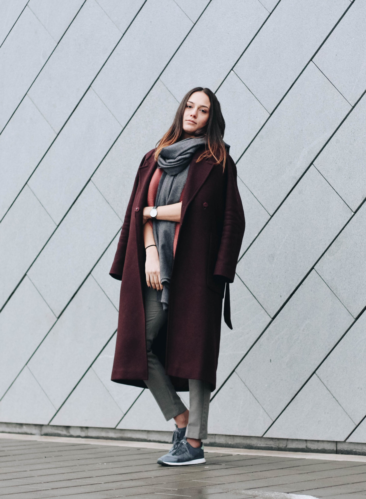 Reflections Outfit Winter Post by Michaella Bulgarian Fashion Blogger Quite a Looker, Edited coat, Cos sweater, Adidas AR-10 Grey Sneakers, Minimalist Scandinavian Fashion