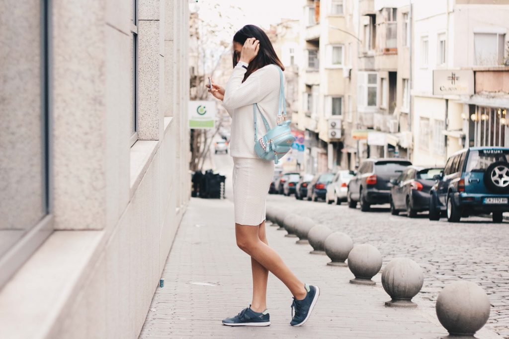 White Noise Outfit post by Michaella, Bulgarian Fashion Blogger Quite a Looker, Simona Skirt and Sweater in Kalk by Danish minimalist clothing brand Basic Apparel, Adidas AR-10 sneakers