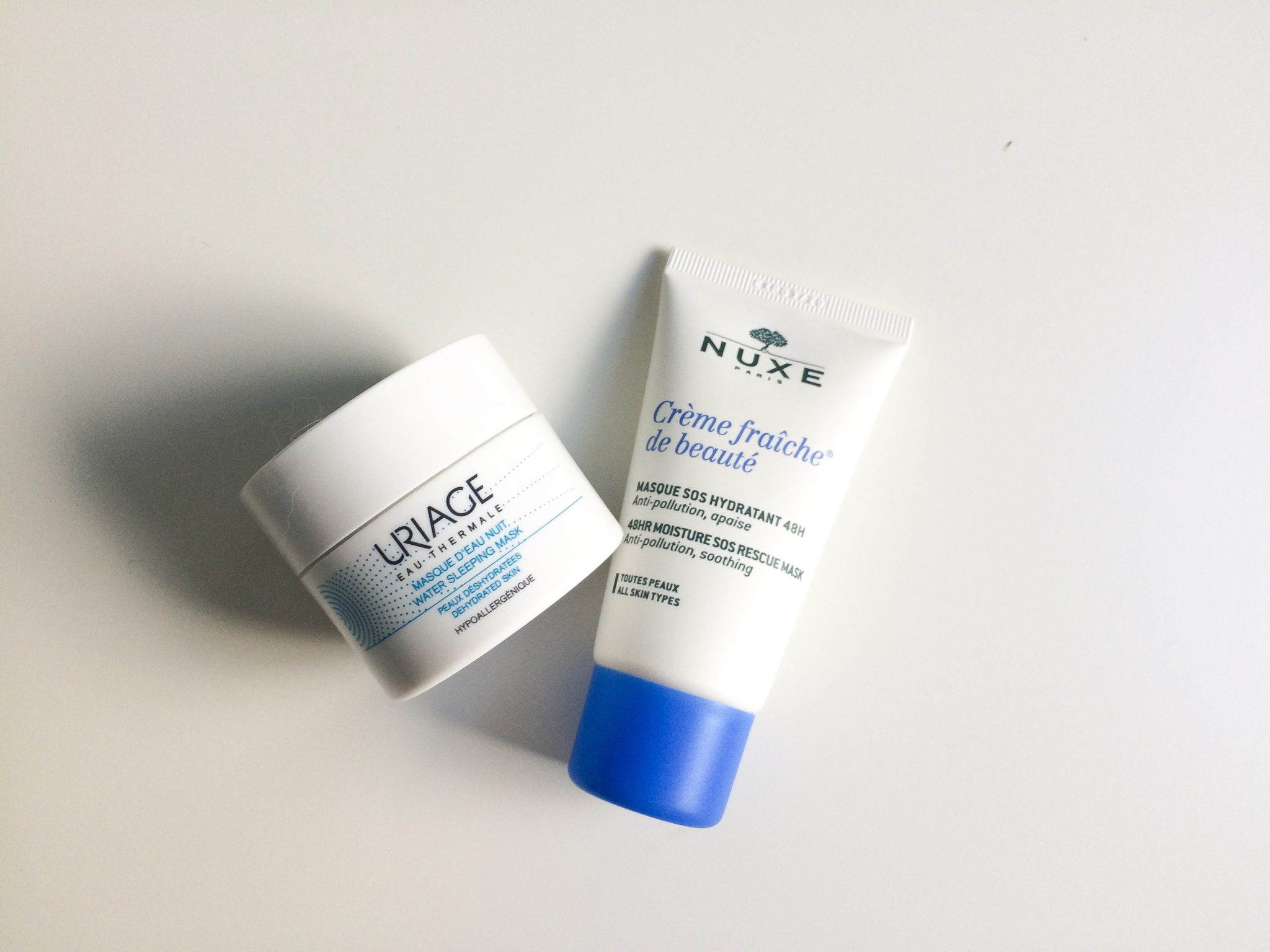 Uriage Water Night Mask and Nuxe Creme fraiche de beaute hydrating face mask review by beauty blogger Quite a Looker